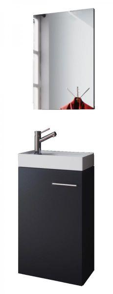 """VCM - my bath Gäste-Waschplatz """"Slito"""" mit Spiegel / Schwarz"""