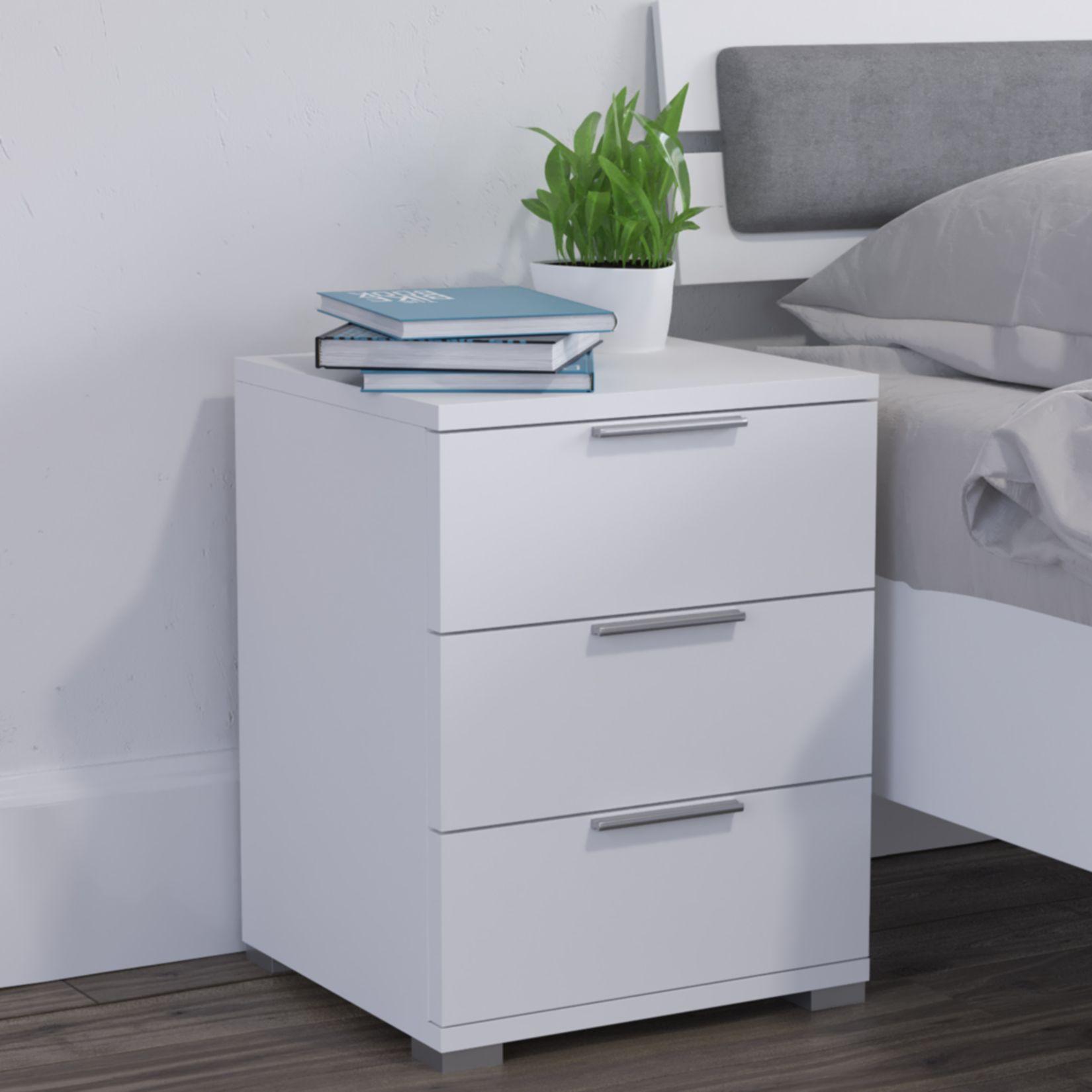 Kommode Erie 60 cm Nachttisch Nachtkommode mit Schubladen Weiß Wenge Sonoma 25