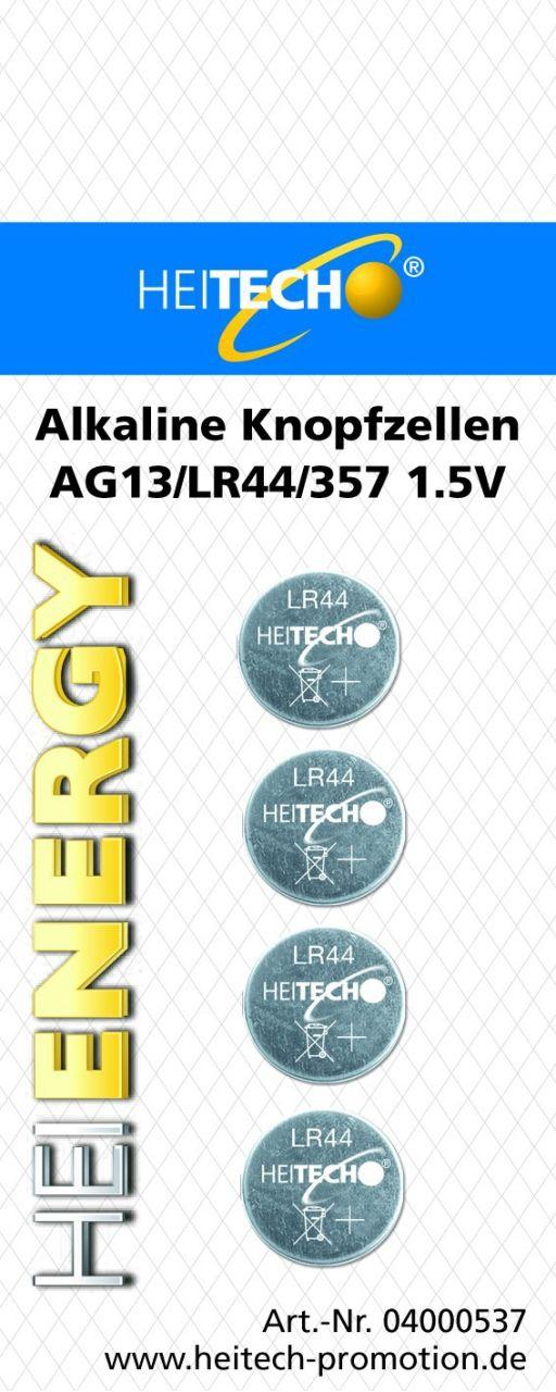 Heitech Alkaline Knopfzellen 4er Pack Ag13/lr44