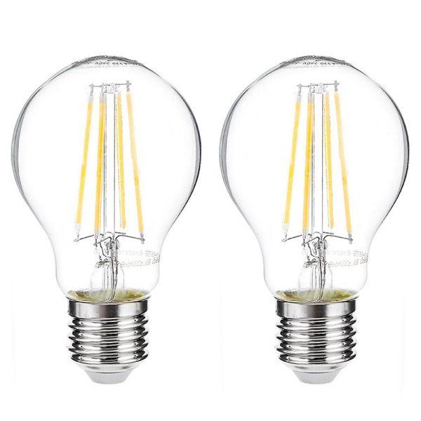 I-Glow LED-Leuchtmittel Filament 360° Birne, 7 Watt, E27, klar - 2er Set