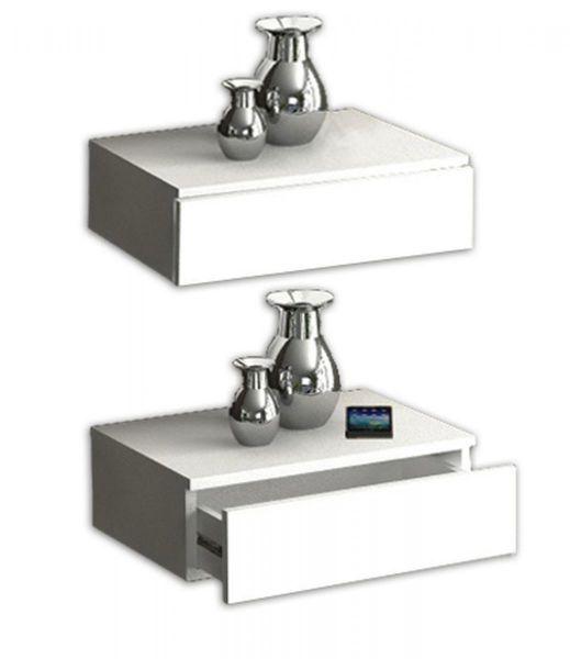 VCM Wandschublade Blado-2x1  Weiß | Schlafzimmer > Nachttische | Nachbildung | VCM