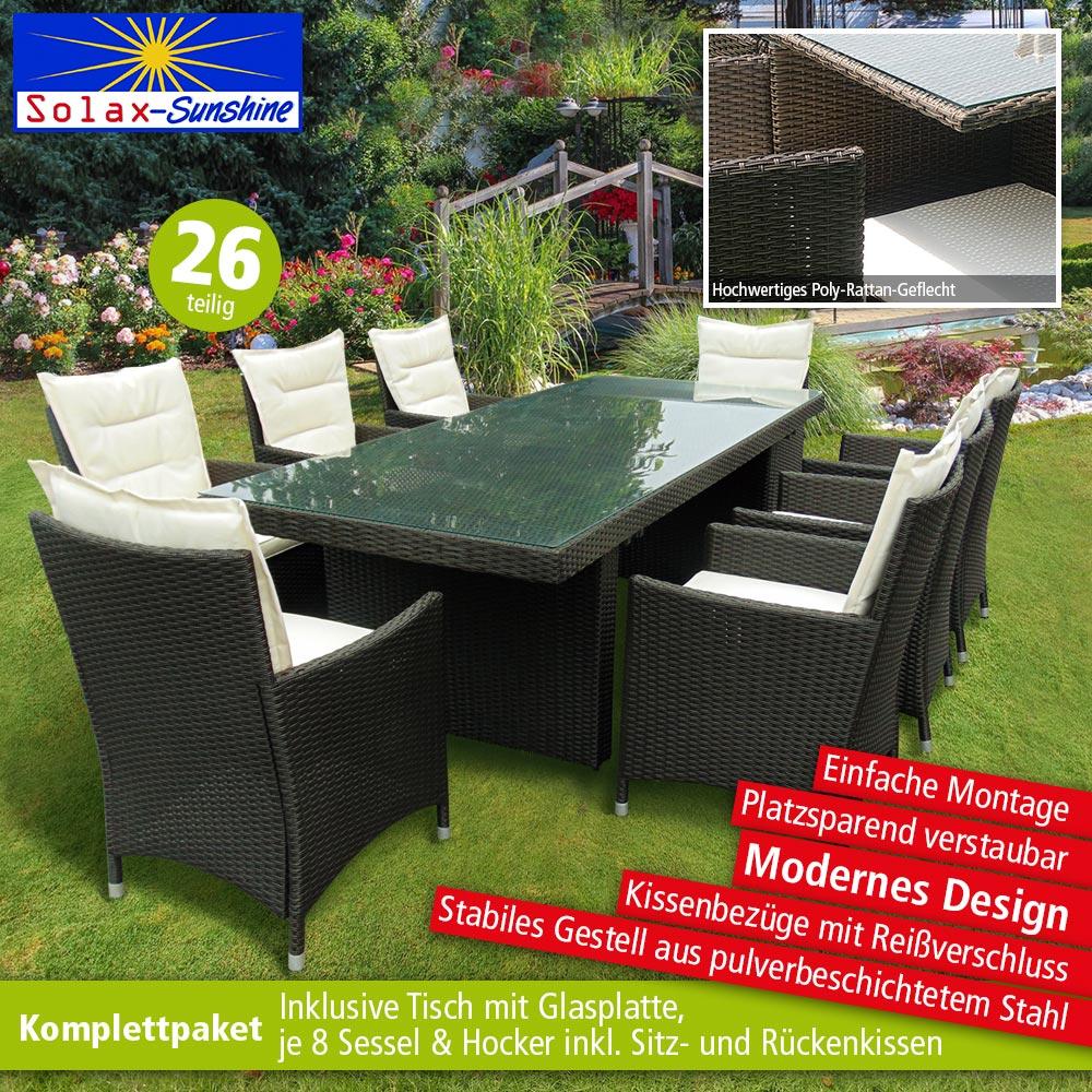 Solax Sunshine Gartenmobel Rattan Set Tisch 8 Stuhle Norma24