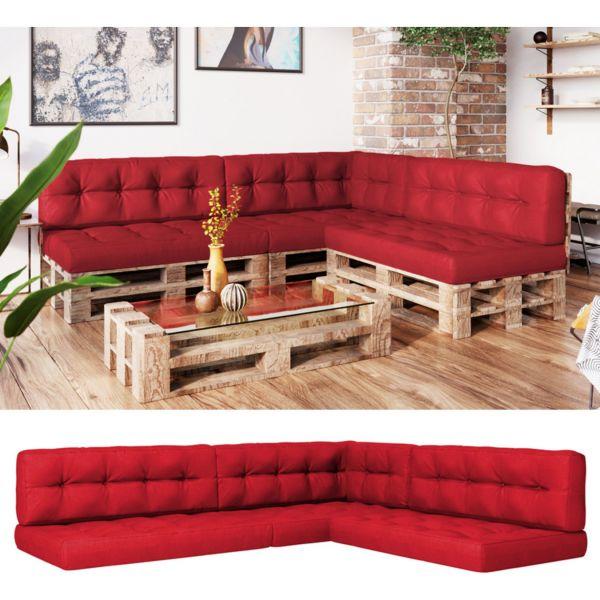 Vicco Palettenkissen-Set 3x Sitzkissen + 3x Rückenkissen + Seitenkissen Flocke, verschiedene Farben