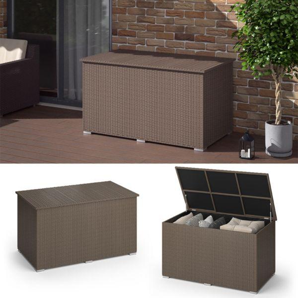 Oskar-Store XXL Polyrattan Kissenbox 950L Auflagenbox Braun Gartenbox Gartentruhe