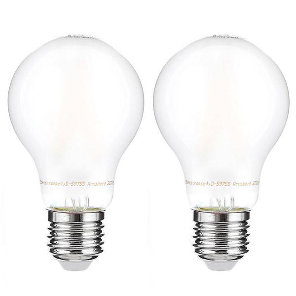 I-Glow LED-Leuchtmittel Filament 360° Birne, 7 Watt, E27, matt - 2er Set