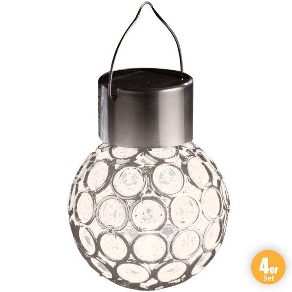 I-Glow LED-Solar-Leuchtkugeln, Crystal Weiß - 3er Set + 1 Gratis