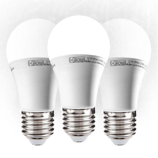 I-Glow LED Leuchtmittel, Birne, E27, 12 W - 3er Set