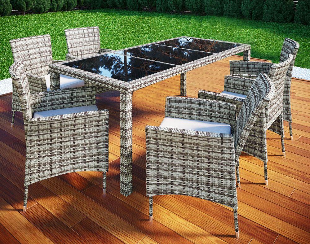 Vcm Rattan Set Tisch 13 Tlg Grau Norma24