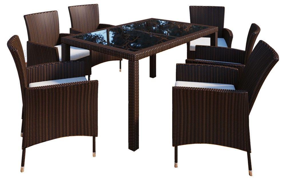 Set 140x906 Braun Tisch Polyrattan Vcm Stühle 1cJuTFKl3