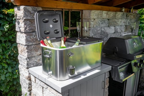 Rio Brands Kühlbox, Edelstahl, inkl. Rollwagen