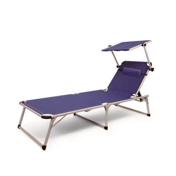 Solax-Sunshine Alu Strand-Liege mit Sonnendach - Blau