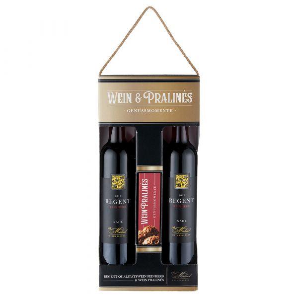 Geschenkpackung Wein & Pralines, 2019,  feinherb