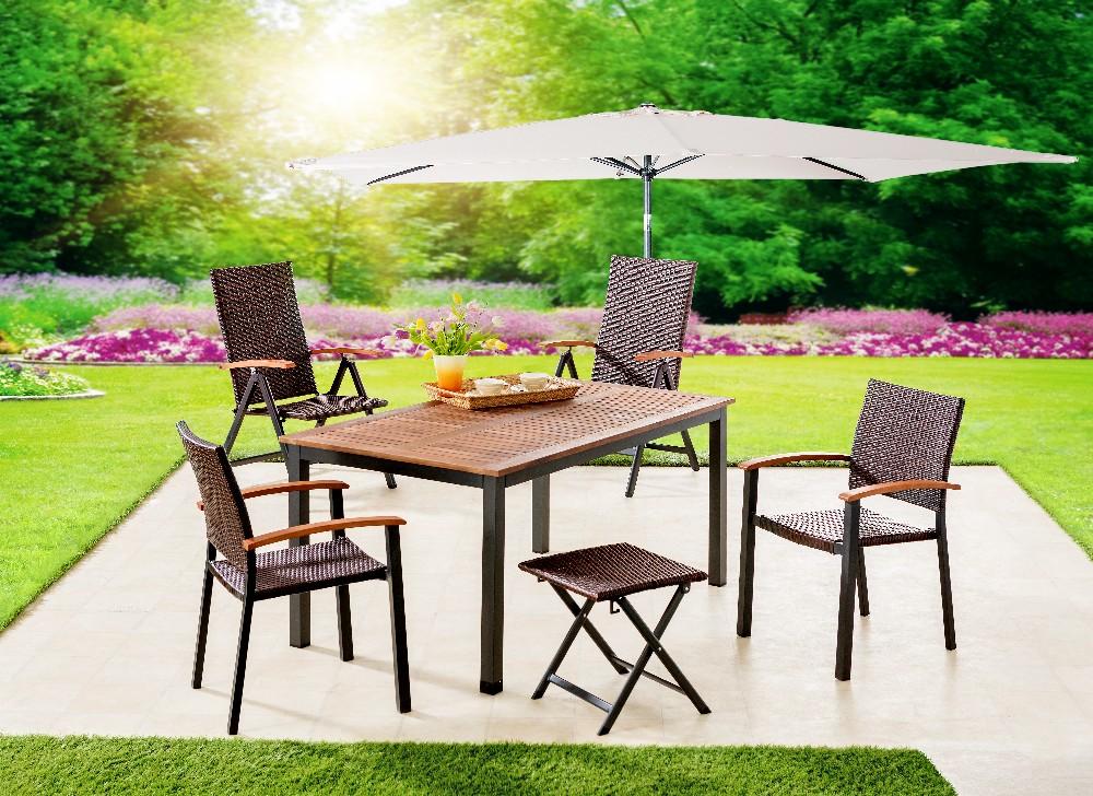 Solax Sunshine Alu Gartentisch Mit Holzplatte Genua Braun Norma24