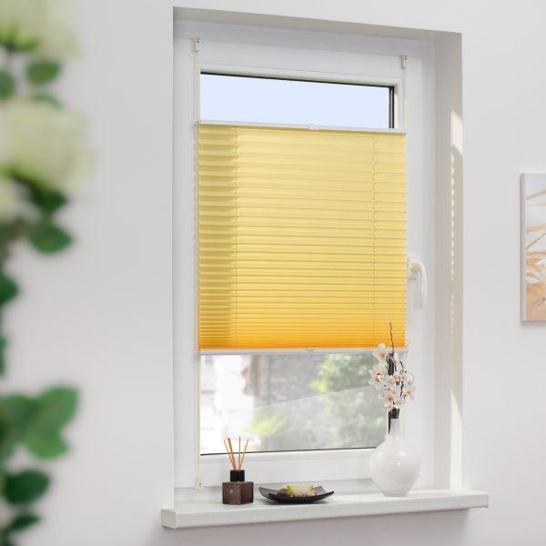 Lichtblick Plissee Klemmfix, ohne Bohren, verspannt - Gelb, 60 cm x 130 cm (B x L)