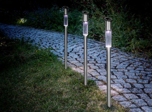 EZSolar LED-Edelstahl-Solar Gartenlampe, 3er Set
