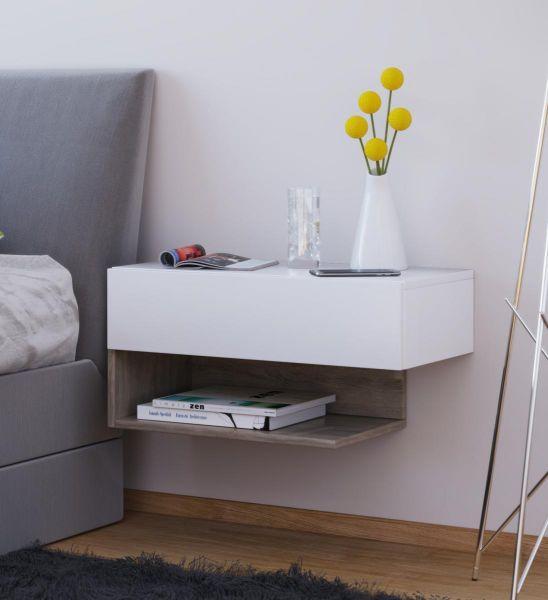 VCM Wandschublade Klado Maxi Beton-Optik | Schlafzimmer > Nachttische | Nachbildung | VCM