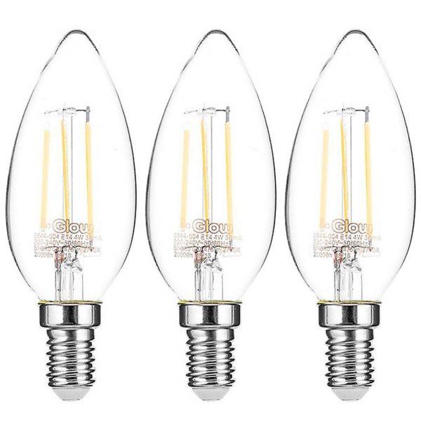 I-Glow LED-Leuchtmittel Filament 360° Kerze, 4 Watt, E14, klar - 3er Set