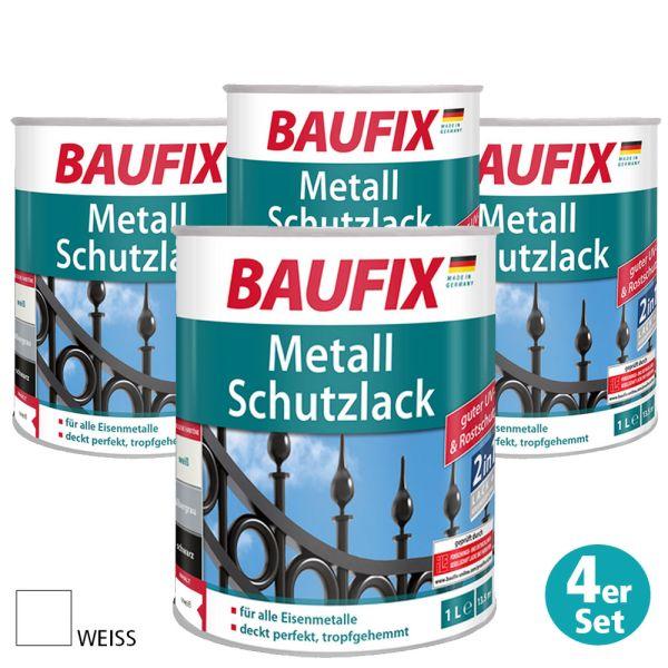 Baufix Metall-Schutzlack, Weiß, 4er-Set
