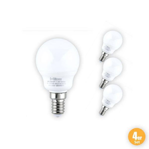 I-Glow LED-Leuchtmittel, Mini Globe, 8 W, E14, Warmweiß - 4er Set
