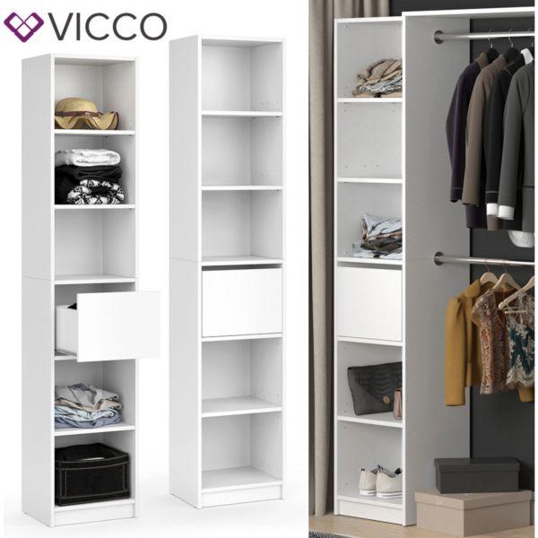 Vicco Kleiderschrank GUEST - Regal Schlafzimmer Erweiterung geteilt Schublade