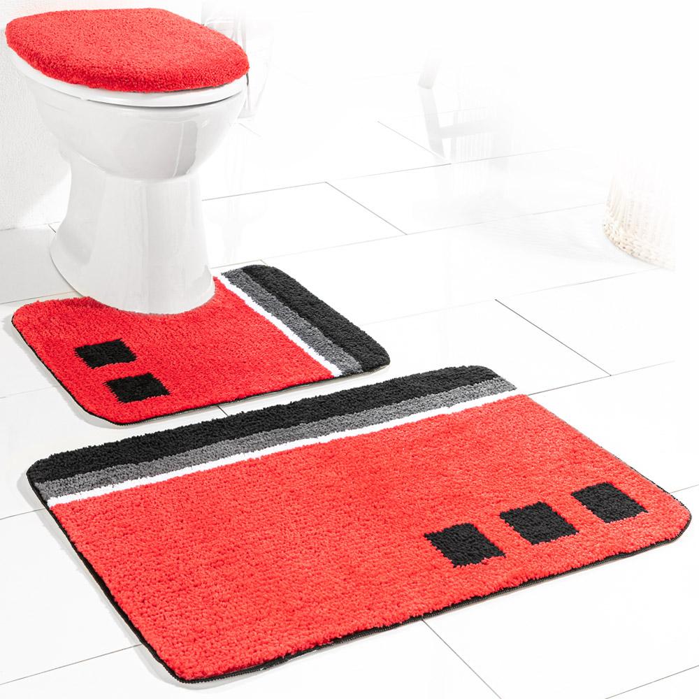 Sensino Badezimmer-Garnitur für Stand-WC, 10-tlg. - Rot Olivera