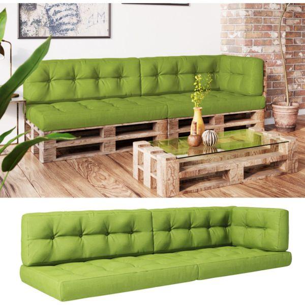 Vicco Palettenkissen-Set 2x Sitzkissen + 2x Rückenkissen + Seitenkissen Flocke, verschiedene Farben