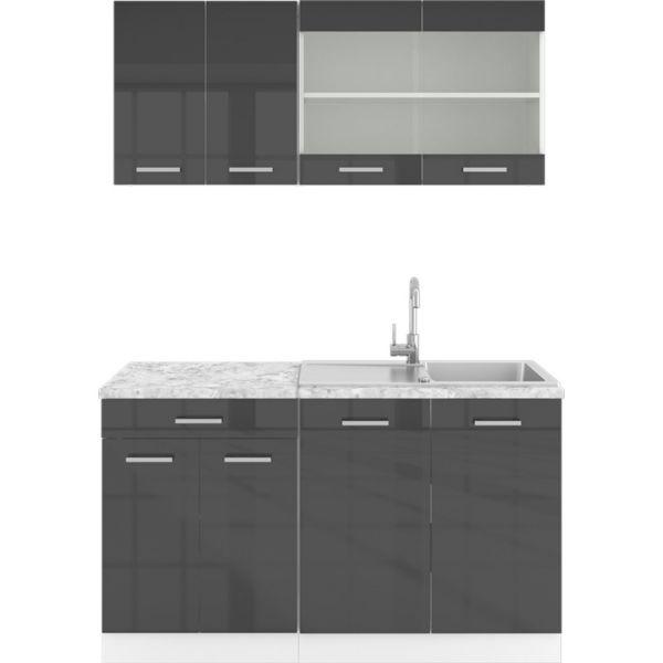 Vicco Küchenzeile SINGLE Einbauküche 140 cm Küche Anthrazit Hochglanz R-LINE
