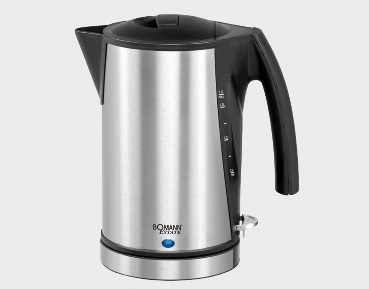 Bomann WK 3004 CB Schwarz Wasserkocher 1,7 Liter 2200 Watt mit Kalkfilter