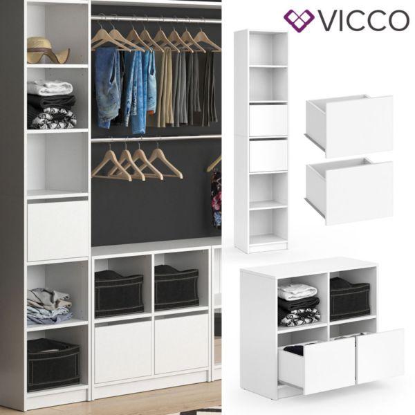 Vicco Kleiderschrank GUEST - Schubladenset zweiteilig Modul Regal Erweiterung