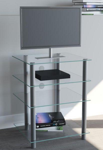 VCM - my media Hifi-Möbel Bilus Silber/Klarglas