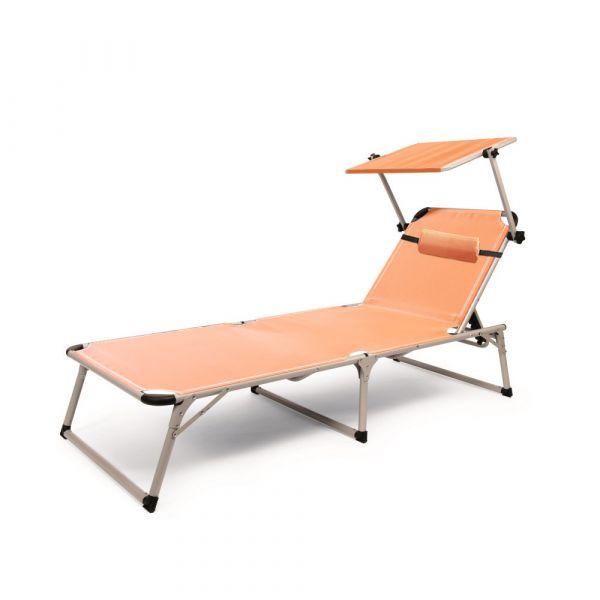 Solax-Sunshine Alu Strand-Liege mit Sonnendach - Terrakotta